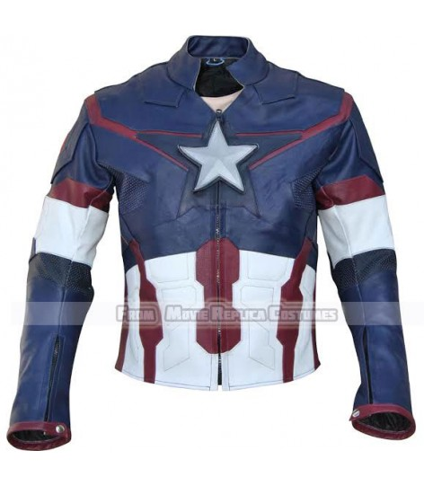 AVENGERS AGE OF ULTRON CAPTAIN AMERICA' STEVE ROGERS (CHRIS EVAN) LEATHER JACKET BAY OF MANY